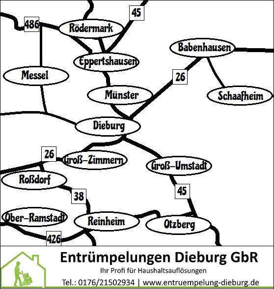 Entrümpelung Dieburg - Unsere Kerngebiete